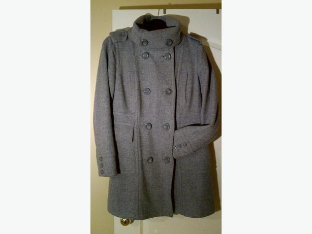 Grey Wool Military-Style Coat Size M North Saanich & Sidney