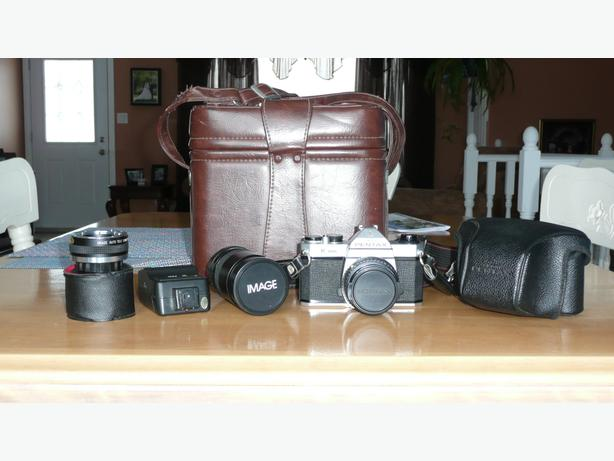 Pentax K1000 camera and accessories