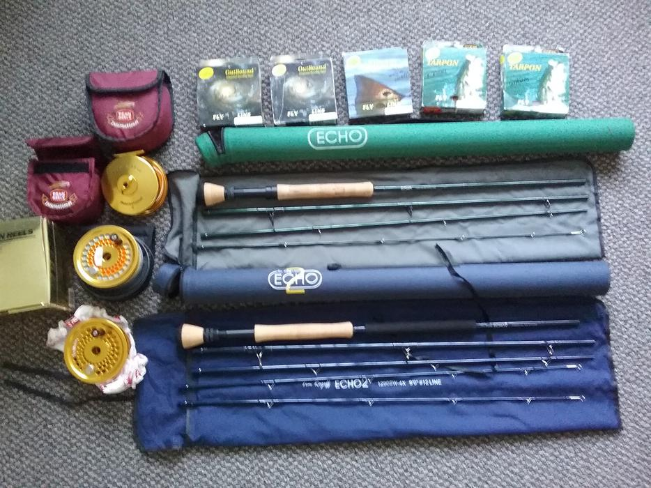 fly fishing gear for sale rods reels flies outside