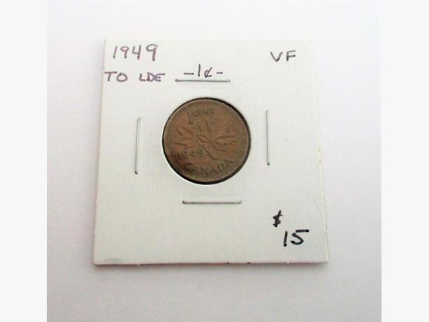 1949 1 cent VF Grade - LDe Variety