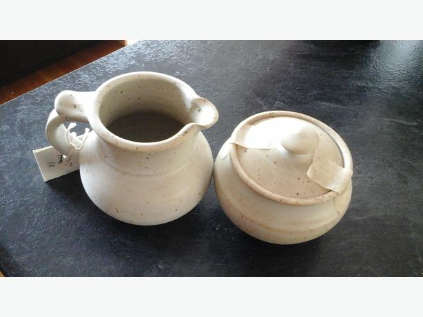 Pottery Cream and Sugar