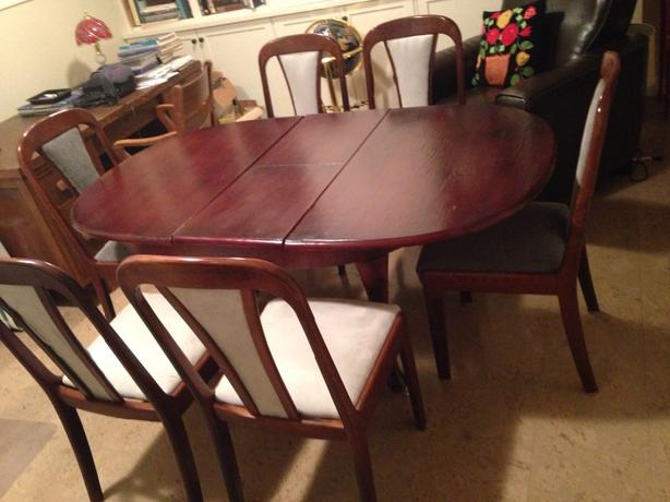 Solid Cherry Wood Dining Table & Six Chairs Saanich, Victoria