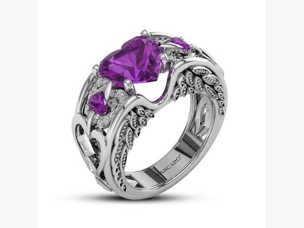 Amethyst Heart Ring In Sterling Silver Of Angel Wing