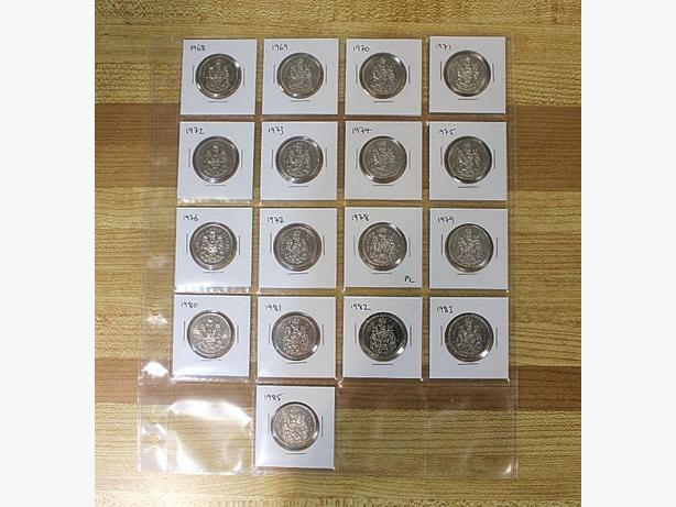 Year Set of 50 Cent Coins from 1968 to 1985