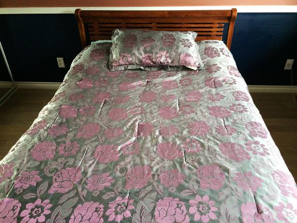 Wooden Bed, Medium Walnut Finish