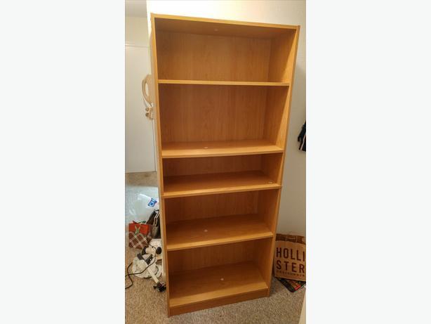 mainstays 5 shelf wood bookcase saanich victoria. Black Bedroom Furniture Sets. Home Design Ideas
