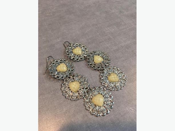 Silver Heart Vintage Earrings