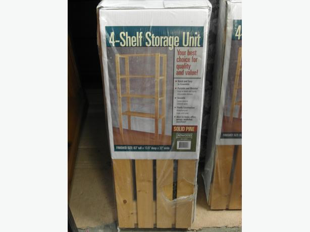 Adwood solid pine 4 shelf stoage unit