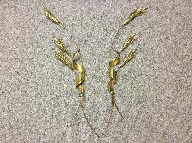 WHEAT SHEAVES BRASS TIN WALL ORNAMENT