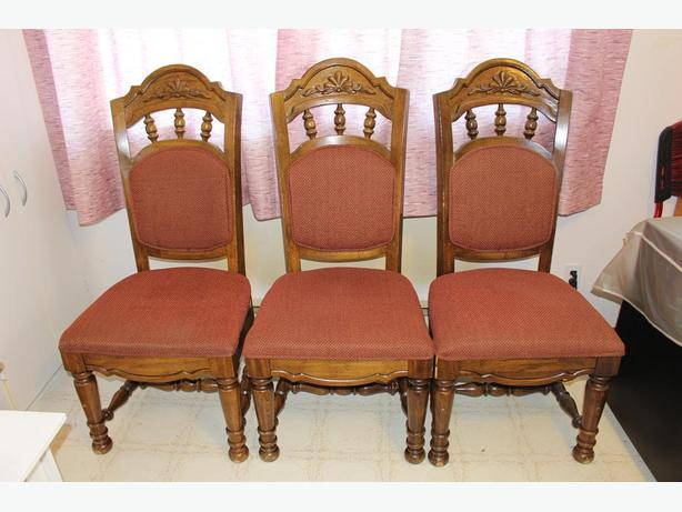 3 Antique Solid Oak King Chairs