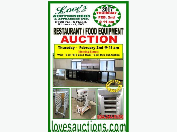 GIANT RESTAURANT EQUIPMENT AUCTION - THURSDAY - FEBRUARY 2nd @ 11 am