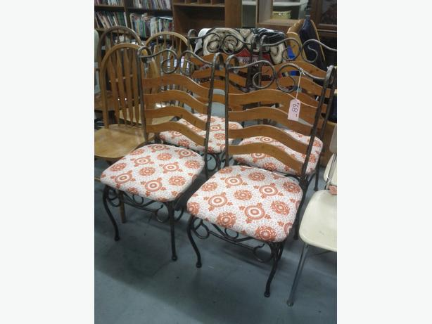 4 Metal and Wood Chairs