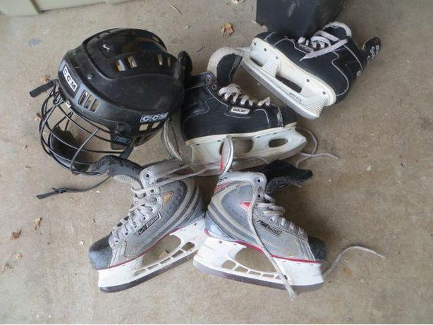 bauer skates, size 4, 4.5, ccm helmet