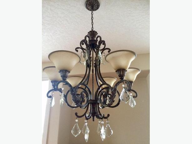 Six Light Iron Chandelier with Crystals
