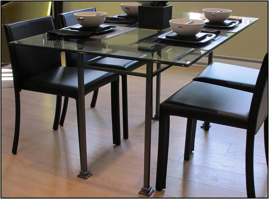 Custom Made Steel Dining Table Desk With Glass Top Final
