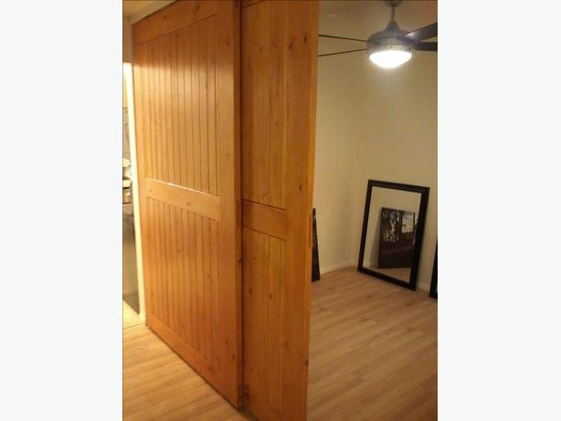 Interior sliding barn doors with overhead track saanich for Track doors interior