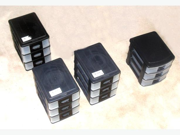 4 Like-New Small Plastic Drawer Boxes