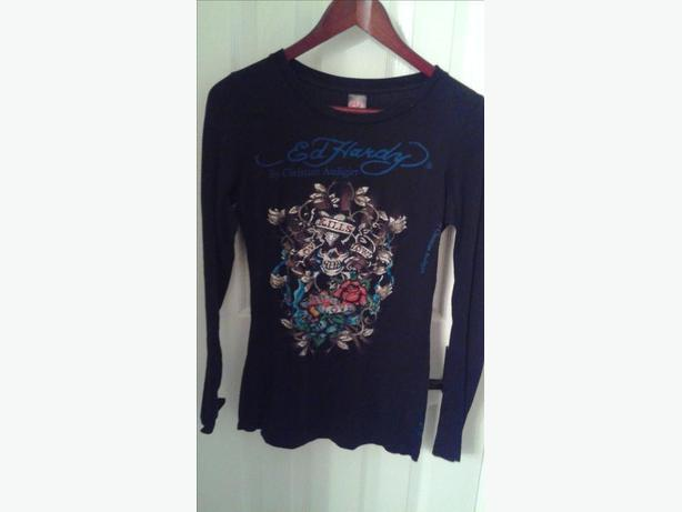 ED HARDY Christian Audigier Rhinestone Love Kills Sowly long sleeve shirt