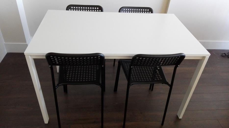 White Ikea Dining Table with 4 Black Chairs Victoria City  : 57686787934 from www.usedvictoria.com size 934 x 524 jpeg 40kB