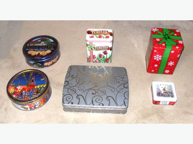 6 Like-New Empty Tins for Sweets, with Covers