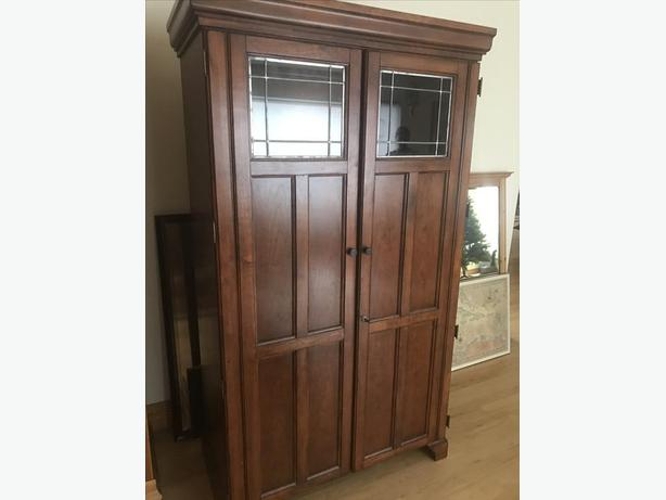 Solid Wood Computer Armoire ~ Solid wood armoire desk with leaded glass victoria city