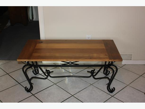 Reclaimed Wood Wrought Iron Coffee Table Central Saanich Victoria