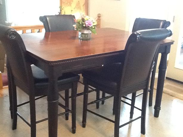 Dining room table with 6 chairs pub height solid wood for Dining room table 42 x 60