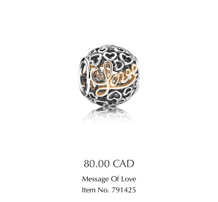 Pandora charm message of love victoria city victoria for Pandora jewelry salt lake city