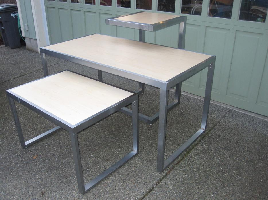 Used Display Tables ~ Stainless steel and maple finish display table set saanich