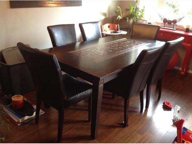 Pier one dining room table 6 pleather chairs victoria for Pier 1 dining room table