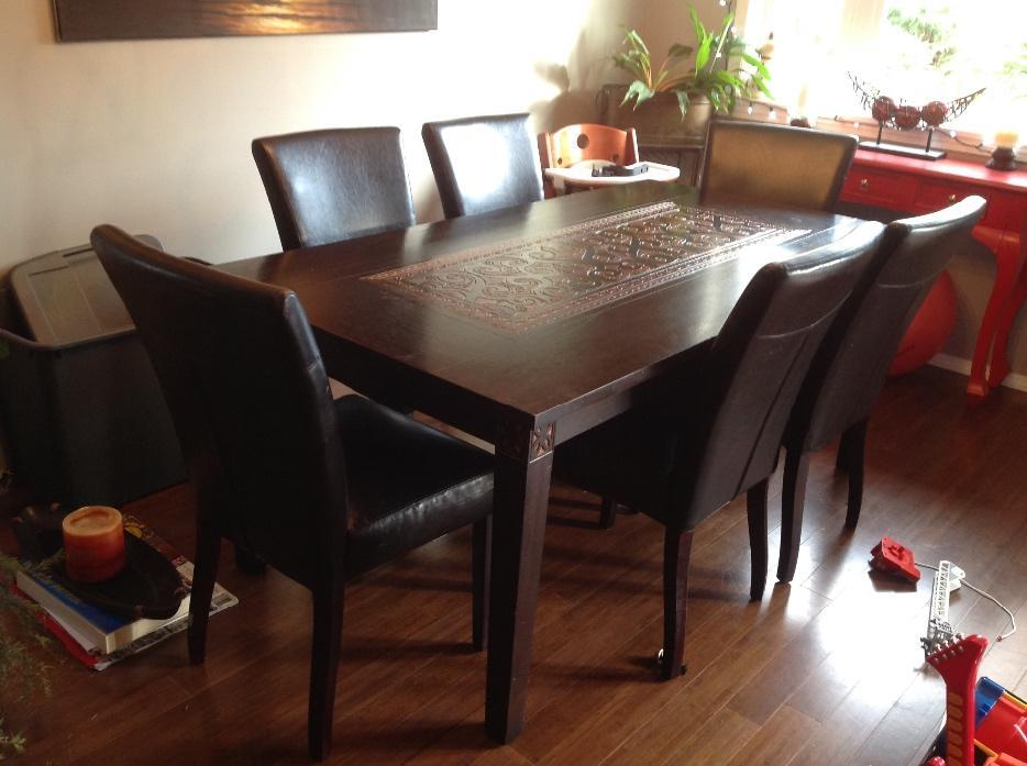Pier one dining room table 6 pleather chairs victoria for Pier 1 dining room pictures