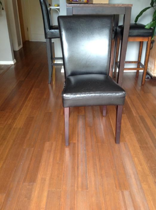 Pier one dining room table 6 pleather chairs victoria for Pier 1 dining room bench