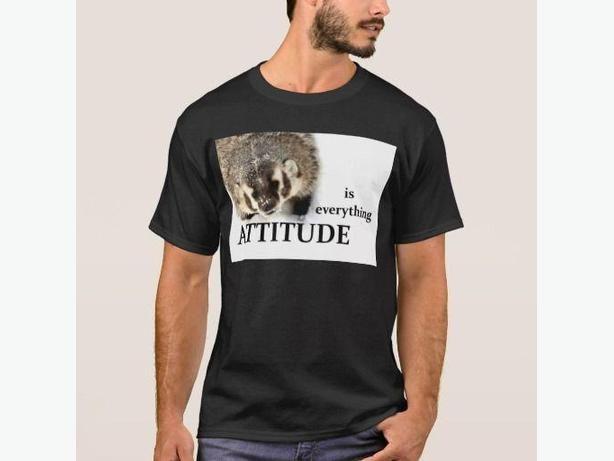 """Attitude is Everything"" BADGER Photo T Shirt, NEW"