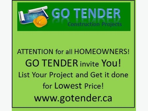 Attention for all HomeOwners! GO TENDER.ca FREE market!