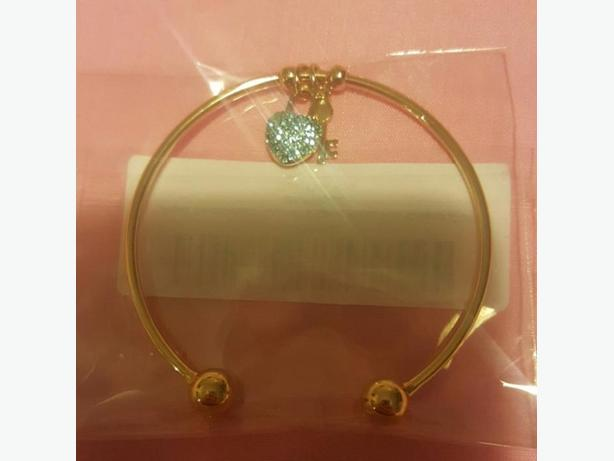 Gold Cuff with Swarovski Aqua Crystals Heart