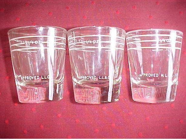 3 DIFFERENT LIQUOR CONTOL BOARD SHOT GLASSES
