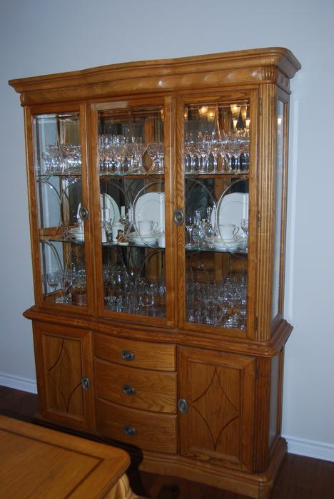beautiful ashley oak dining room set with buffet and hutch