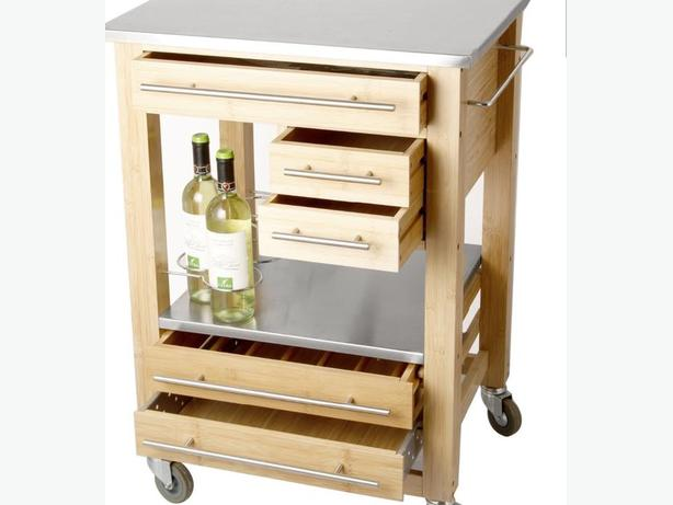 Kitchen Trolley Rolling Cart w/ Wine Rack