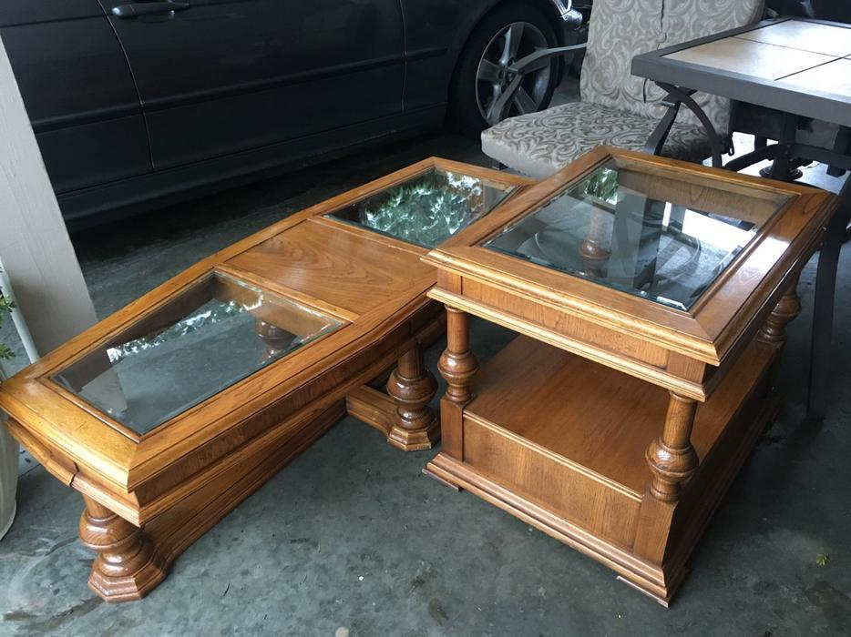 Matching Coffee And End Table Solid Oak Saanich Victoria