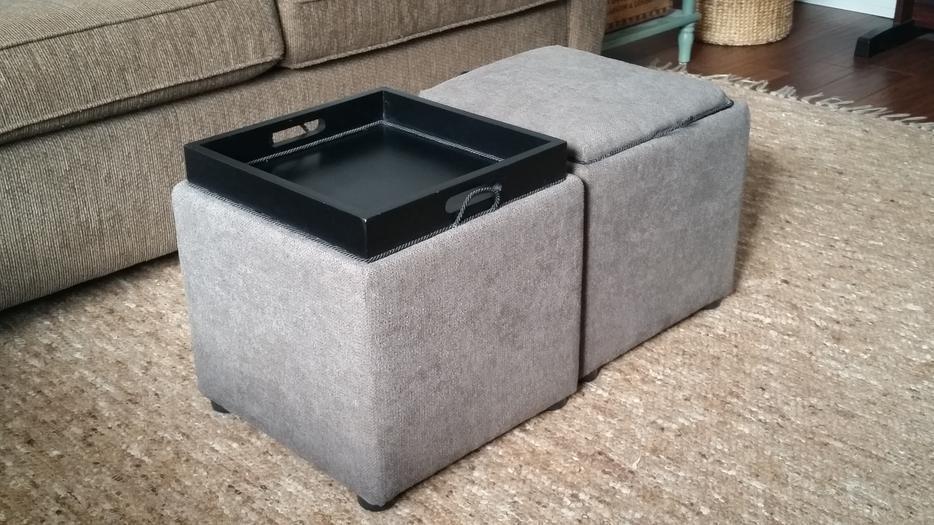 Multi purpose cube style ottoman with tray north nanaimo