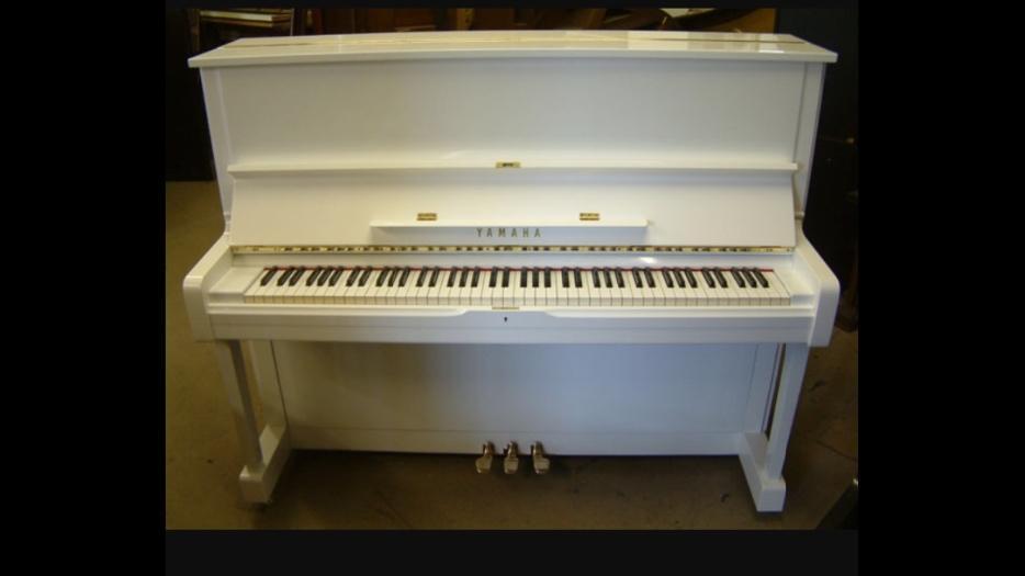 Yamaha u1 piano polished white west shore langford for Yamaha piano store winnipeg
