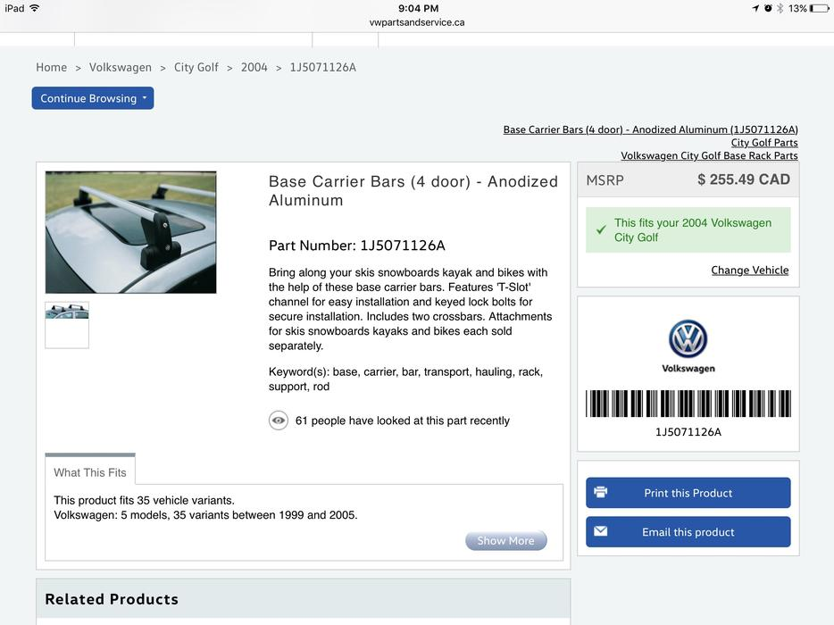 West Houston Vw >> VW Roof Rack for Golf and Jetta Victoria City, Victoria