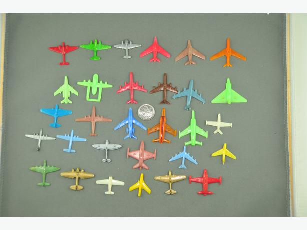 Small vintage colorful plastic planes x 30 1-2 inches
