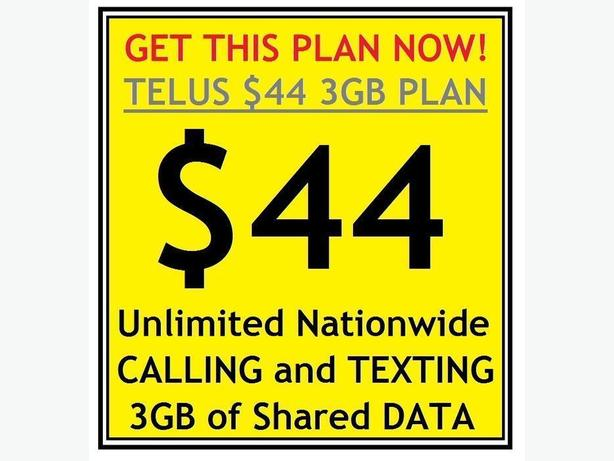 Get the $44 Unlimited Nationwide Voice/Text and 3GB Data Plan from Telus!