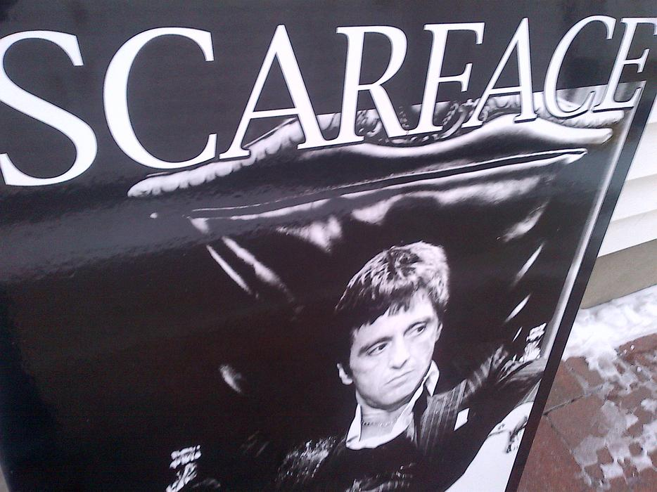 Man Cave Kenora : Man cave scarface al pacino wood picture poster
