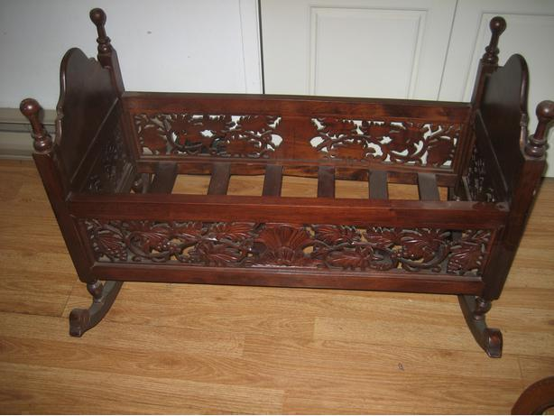 Carved Mahogany Cradle