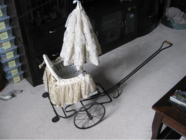 Baby Carriage Buggy Antique Wicker Stroller  Victorian Canopy