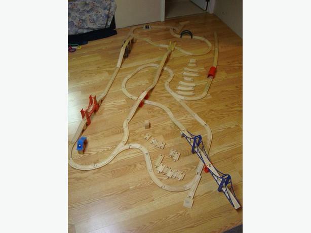 Huge Wood Train Set with Ikea Wood Tracks Thomas & Friends - $100