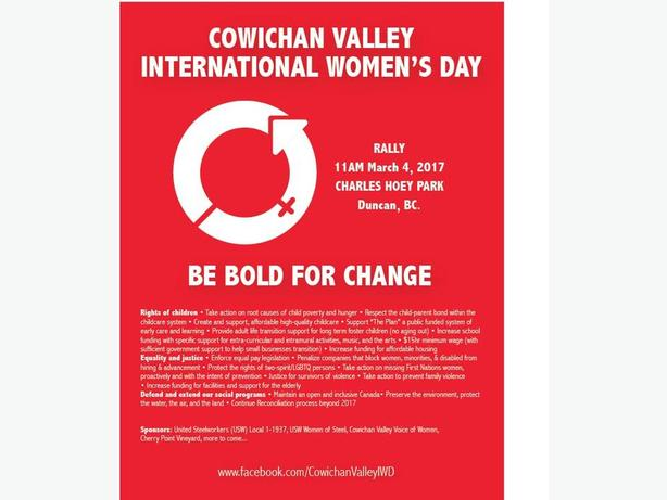 Cowichan International Women's Day - 11am, March 4, 2017 - Charles Hoey Park