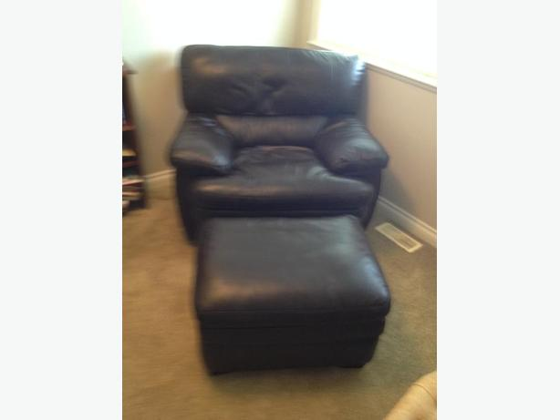 All-Leather Laz-y-boy Large Arm Chair and Ottoman